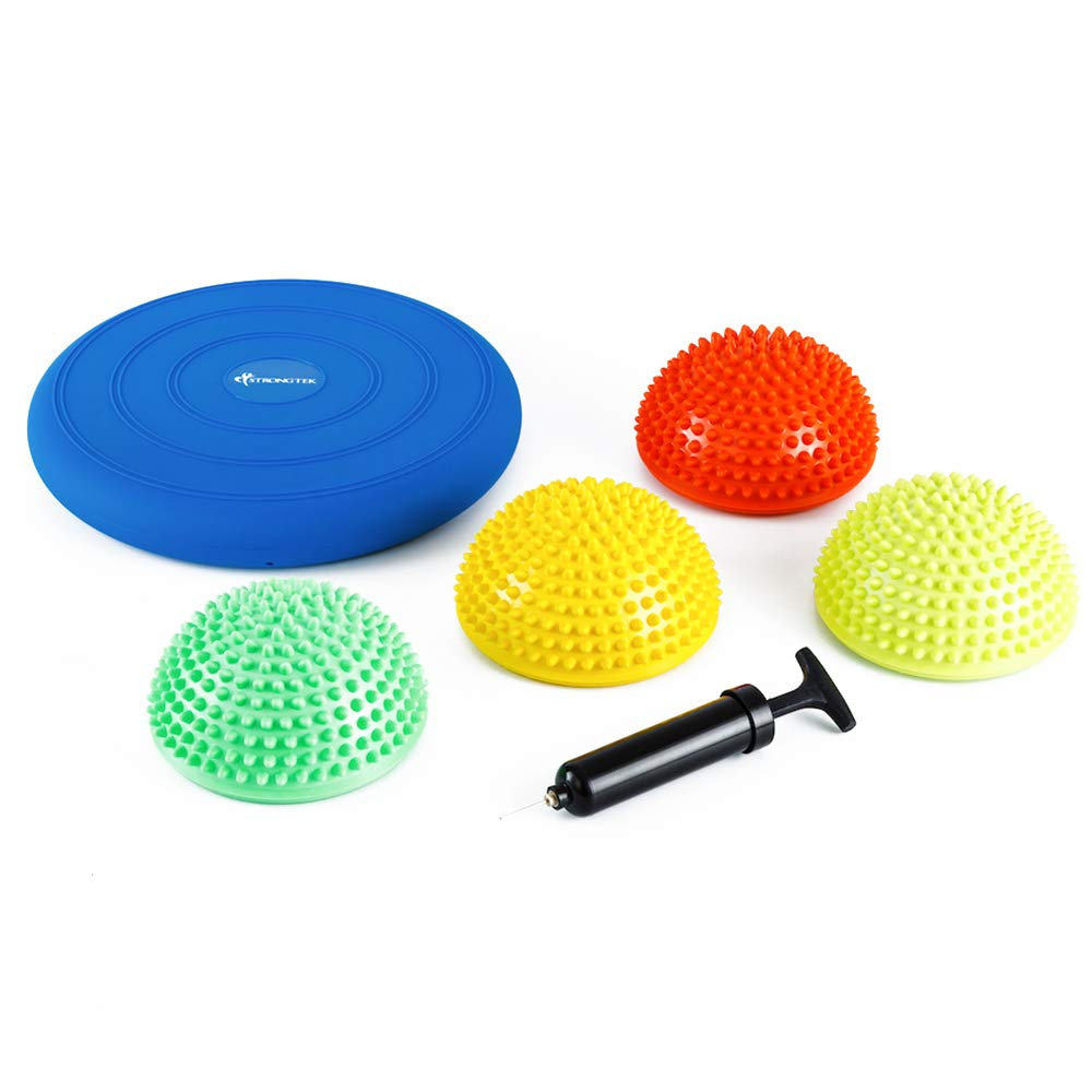 StrongTek Hedgehog Balance Pods with Hand Pump, Stability Balance Trainer Dots Plus Large Balance Pad, Core Body Balancing, Inflatable Stepping Pads, Sensory Wiggle Seats for Kids Set of 5