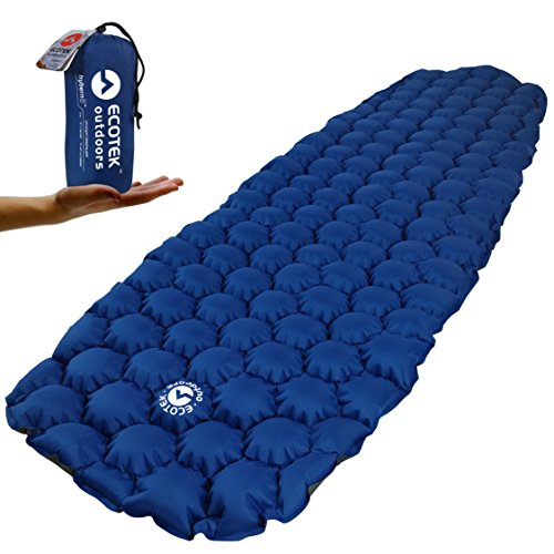 EcoTek Outdoors Hybern8 Ultralight Inflatable Sleeping Pad for Hiking Backpacking and Camping – Contoured FlexCell Design – Perfect for Sleeping Bags and Hammocks
