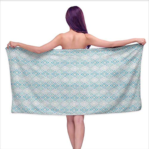 Onefzc Beach Chair Towel Ikat Aztec Culture Inspired Geometrical Motifs with Cross in The Middle South American for Family Guest Bathrooms Gym W40 x L10 Blue Pale Grey ()