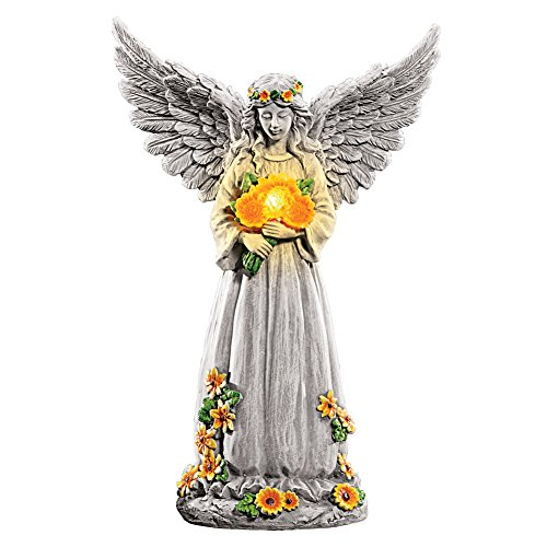 Collections Etc Solar Light Up Angel with Sunflowers, Wings Spread, Garden Statue