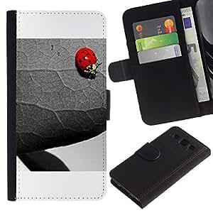 Samsung Galaxy S3 III i9300 i747 - Dibujo PU billetera de cuero Funda Case Caso de la piel de la bolsa protectora Para (The Ladybug And Leaf)