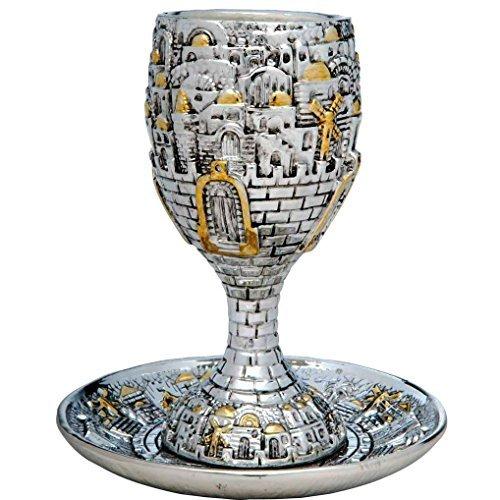 Jerusalem Kiddush Cup - Silver Plated Jerusalem KIDDUSH CUP with Tray Jewish Shabbat Set Judaica Holiday Gift