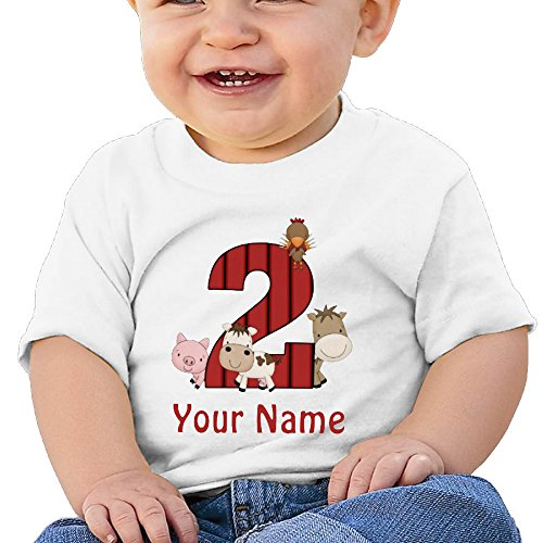 2Nd Birthday Farm Animals Personalized Toddler Cute Tshirts