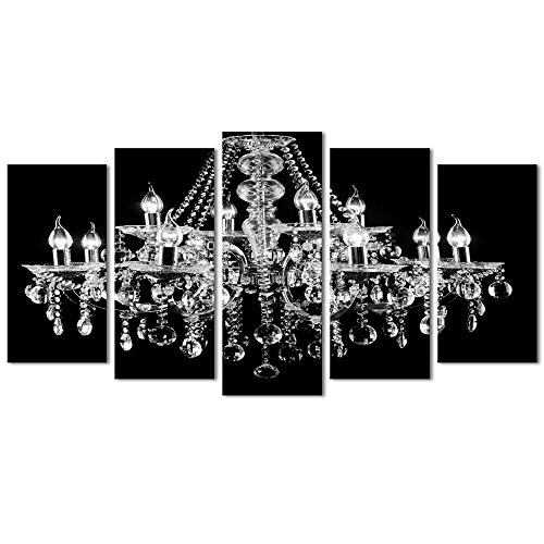 Visual Art Decor Large 5 Pieces Canvas Prints Crystal Chandelier on Black Background Picture Modern Living Room Office Wall Art Bedroom Decoration Ready to Hang (Large)