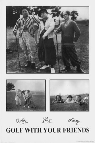 Black Wood Framed Poster - Three Stooges Golf with Your Friends