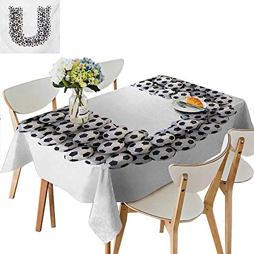 Indoor and Outdoor Tablecloth,Stack of Soccer Balls with U Shape Alphabet in Football Theme Outdoor Sports Washable Tablecloth Great for Buffet Table,69W x 108L Inches Maroon White ()