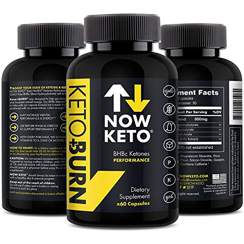 NOWKETO Keto + Burn Exogenous BHB Ketone Supplement Capsules | Best Keto Diet | Ketosis Supplement to Support Fat Burn, Boosts Energy with Beta Hydroxybutrate Salts for Weight Loss 60 Capsules