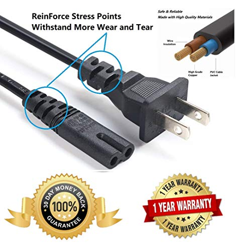 2 Prong Power Cord 6-Foot for Sony Playstation, PS3 Power Cord, PS 4 Power Cord, Playstation 2 Power Cord and Most of Figure 8 Electronics Devices ()