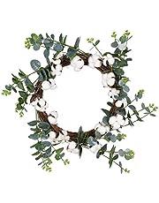 "16"" Cotton Wreath Decor, Fake Eucalyptus Green Leaves Wreath with Full White Fluffy Cotton Bolls for Farmhouse Decor Front Door Window Wall Wedding Centerpiece"