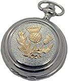 A E Williams Scottish Thistle 2 tone mens mechanical pocket watch with chain