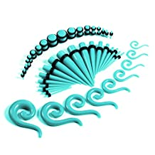 54 Pieces Gauges Kit Turquoise Spiral Teardrop Tapers and Plugs 14G-00G Stretching Kit - 27 Pairs