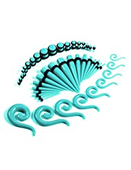 54 Pieces Gauges Kit Turquoise (Under Water) Spiral Hanger Tapers and Plugs 14G-00G Stretching Kit - 27 Pairs