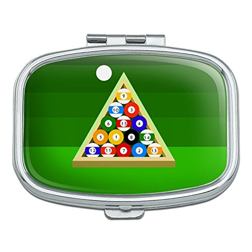 (Billiard Balls and Triangle Pool Table Rectangle Pill Case Trinket Gift Box)