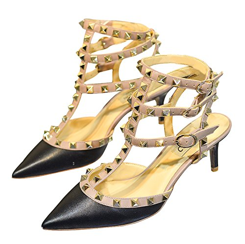 Heels Strappy Rivets Court Wedding Studded Sandals Party Stiletto Toe Studs Mid Matte Gold Pointed Trim Black Beige CAMSSOO Women's Shoes xAqBYw4I48