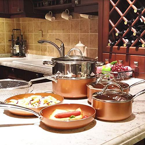 Benecook Nonstick Stainless Steel Copper 10-Piece Cookware Set