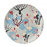 Desert Cactus Savanna Blue Trees Dessert Plate Decorative Porcelain 8 inch Dinner Home
