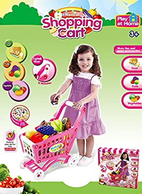 Mini Shopping Cart with Full Grocery Food Playset Toy for Kids - Pink