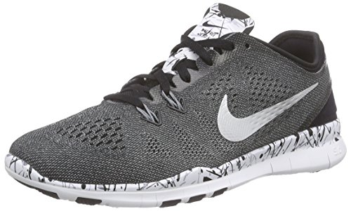 Nike Women's Free 5.0 Tr Fit 5 Prt Black/Mtllc Slver/White/Cl (Nike Womens Core Mesh)