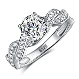Merthus Womens 925 Sterling Silver Created CZ Infinity Band Wedding Bridal Ring Sets