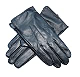 Jasmine Silk Mens Luxury Black Plain Leather Cashmere Lined Gloves (Medium (8.5-9.5 inches))