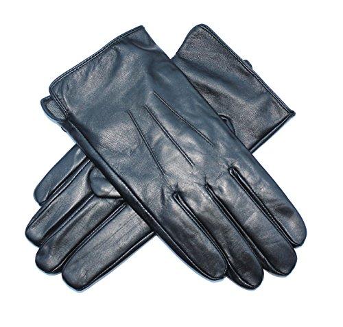 Jasmine Silk Mens Luxury Black Plain Leather Cashmere Lined Gloves (Medium...