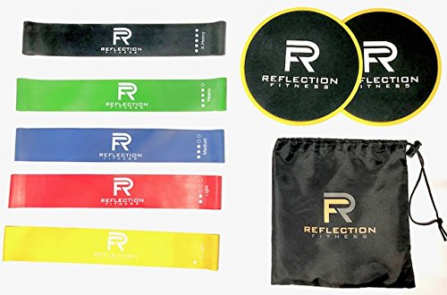 Reflection Fitness Set of 2 Dual Sided Core Sliders | Best Workout Equipment Set of 5 Different Varying Exercise Resistance Loop Bands | Fitness Workout Tool with Travel Bag, Exercise Bands Bundle