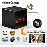 Hidden Spy Camera Wireless Network Nanny Camera Smart Clock WiFi Fluent Video Recorder with Enhanced Night Vision,Motion Detection,12&24 Hour Alarm Clock,Black