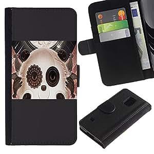 ARTCO Cases - Samsung Galaxy S5 V SM-G900 - Surreal Abstract Futuristic Cute Panda Collage Art - Cuero PU Delgado caso Billetera cubierta Shell Armor Funda Case Cover Wallet Credit Card