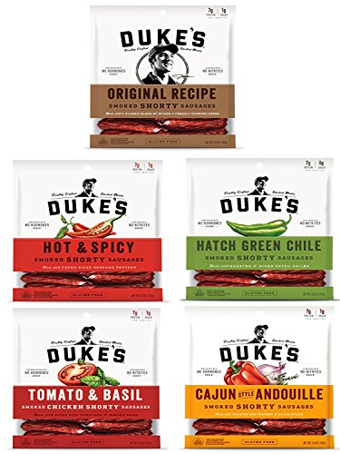 Dukes Smoked Sausages 5 Flavors 7 G protein - Original Recipe 5 oz, Hot & Spicey 5 oz, Hatch Green Chile 5 oz, Tomato & Basil 4 oz, Cajun style Andouille 5 oz - Hot Green Tomato