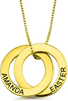 Personalized Russian Interlocking 3 Circles Family Necklace with 3 Names Sterling Silver Necklace Gift for Mother