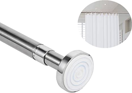 Telescopic Shower Curtain Rail Extendable 125-220cm Pole Rod Bath Window Curtain