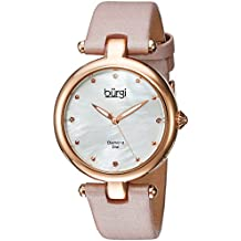 Burgi Women's Quartz Stainless Steel and Leather Casual Watch, Color:Pink (Model: BUR169PK)