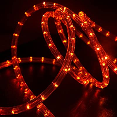"WYZworks Orange 1/2"" Thick (10', 25', 50', 100', 150' option) PRE-ASSEMBLED LED Rope Lights - Christmas Holiday Decoration Lighting"