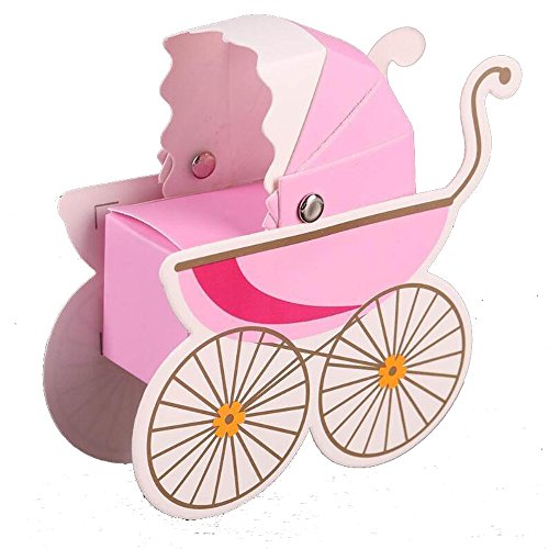 HLJgift Creative Baby Carriage Stroller Favor Gift Box Christening Baby Shower Party Favors Baby Birthday Party Gift Bag Boxes 50PCS (Pink)