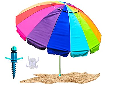 Party With Pride Giant 8' Beach Umbrella/Includes Large Sand Anchor/Hanging Hook/Carry Bag/UV Protection For Sun And Outdoor/Windproof/Adjustable & Telescoping