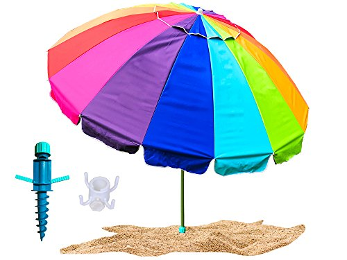 Party With Pride Giant 8' Beach Umbrella/Includes Large Sand Anchor/Hanging Hook/Carry Bag/UV Protection For Sun And Outdoor/Windproof/Adjustable & Telescoping (Rainbow)