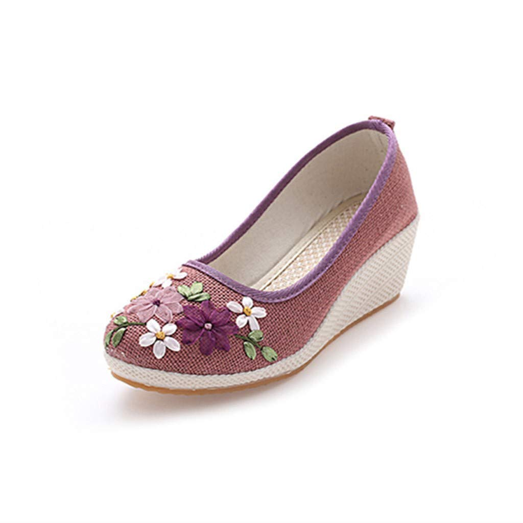 Women Shoes Casual Sneakers Sport,Sunsee Women's Retro Wind Embroidered Cloth Shoes Non-Slip Mid-Slope Single Shoes by WOMEN SHOES BIG PROMOTION-SUNSEE