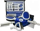 Horicon Pet Deluxe Dog Brush Kit - Interchangeable Dog Grooming Brushes, Dematting/Undercoat Comb, Slicker Brush, De-Matting Razor, Spring Comb, Ball Pin Brush, Bristle Brush