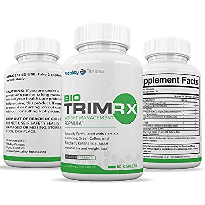 Bio-Trim RX Best Fat Burner & Weight Loss Supplement that Works, Appetite Suppressant & Carb Blocker with Green Coffee Bean, Raspberry Ketone, Acai Berry, Yacon, Green Tea Extract - 60 caplets