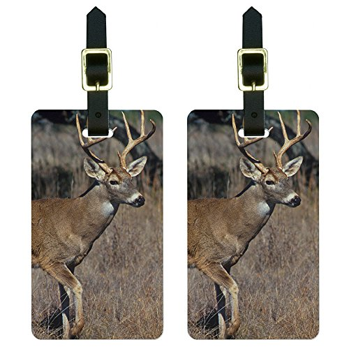 (Deer - Hunting Luggage Tags Suitcase Carry-On ID Set of 2 )