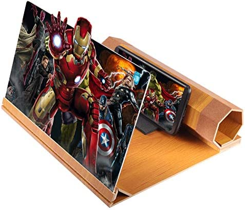 """Foonii 2020 New 12"""" Screen Magnifier for Smartphone (Wood), 3D Screen Magnifier for Movies, Videos and Gaming with Foldable Holder Stand, Non-Slip Cellphone pad, Compatible with All Smartphones"""