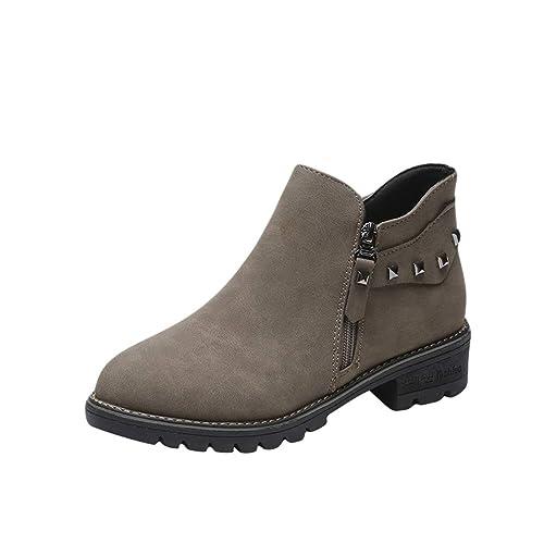 bdc0846b42c49 Tookang Mode Bottes Chelsea Femme Plates Basse Compensées Chaussures Bottes  de Pluie Imperméable Nautiques Ankle Boots
