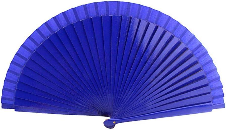 ZER Éventails en bois de danse Bleu Rouge