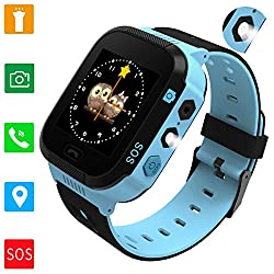 Smartwatches For Boys Girls - Gps Lbs Tracker Watch For Children With Games Phone Sos Alarm Clock Camera Children Gifts Control By Parents Compatible With Iphoneandroid (01 Blue Side Insert)