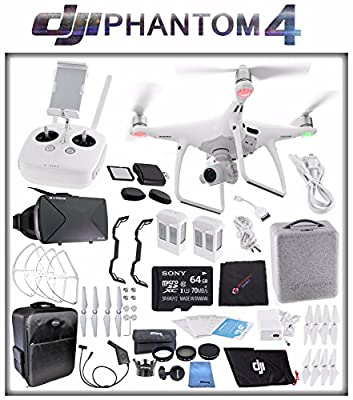 DJI Phantom 4 Quadcopter + Sony 64GB microSDXC Card + DJI Intelligent Flight Battery (2X TOTAL) + Card Reader + Cloth + Backpack + Car Charger & Adapter + 2 Pairs Propeller Blades (White) Bundle