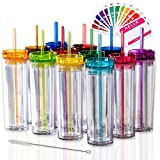 SKINNY TUMBLERS 12 Colored Acrylic Tumblers with