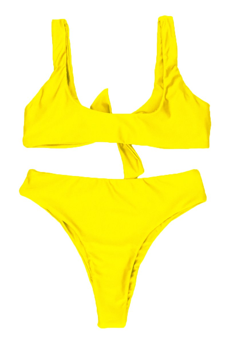 788e8bd5f3b QINSEN Women Sexy Knotted Front Cropped Top Bikini Sets Thong Swimsuit  Yellow M - Kise112c004607 < Sets < Clothing, Shoes & Jewelry - tibs
