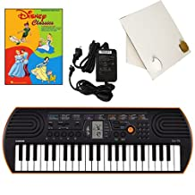 Casio SA-76 44 Key Mini Keyboard Deluxe Bundle Includes Bonus Casio AC Adapter, Desktop Music Stand & Disney Classics Beginning Piano Solo Songbook