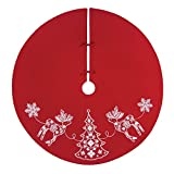 54'' Cotton Red Nordic Holiday Handcrafted Tree Skirt by C & F