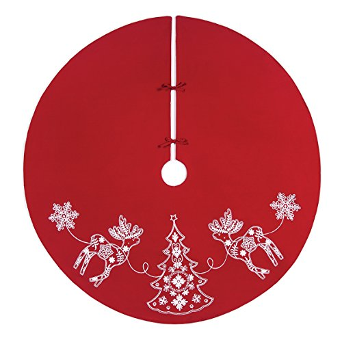 54'' Cotton Red Nordic Holiday Handcrafted Tree Skirt by C & F by C & F Enterprise